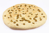 Round Focaccia bread with olives — Stock Photo