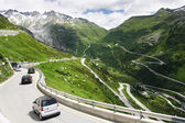 View on the Furkapass and streamers — Stock Photo