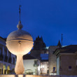 Fountain and Cathedral of Portas de Moura - Stock Photo