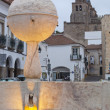 Fountain and Cathedral of Portas de Moura — Stock Photo