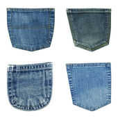 Blue jeans pockets isolated on white — Foto de Stock