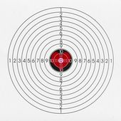 Black and white shooting target with a red heart in the middle — Stock Photo