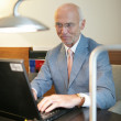 Senior businessman working at his laptop — Stockfoto