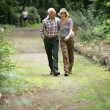 Romantic elderly couple enjoying a walk — Stock Photo