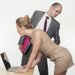 Sexual harassment in the workplace concept — Stock Photo