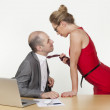Sexual games and firting in the workplace — Stock Photo