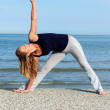 Athletic woman doing yoga training on the beach — Stock Photo #39877395