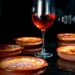 Creme brulee with wine rose — Stock Photo