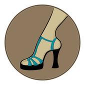 Blue sandals with heels — Stock Vector