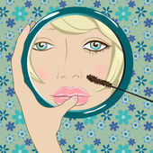 Girl does makeup in the mirror — Stock Vector