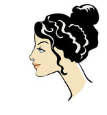 Profile of girl with hairstyle — Stock Vector