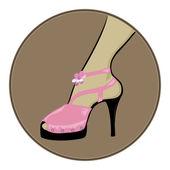 Sottili tacchi neri scarpe rosa — Vettoriale Stock