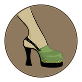 Green sandals on a black base — Stock Vector