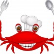 Crab chef cartoon — Vector de stock #18809125