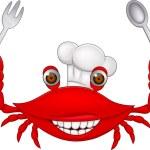 蟹厨师卡通 — 图库矢量图片
