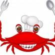 dibujos animados de chef de cangrejo — Vector de stock