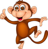 Monkey cartoon dancing — Stock Vector