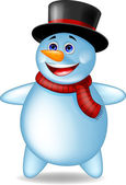 Funny snowman cartoon — Stock Vector