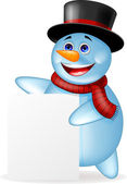 Funny snowman with blank sign — Stock Vector