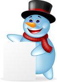 Boş işareti ile funny snowman — Stok Vektör