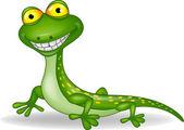Funny green lizard cartoon — Stock Vector