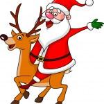Santa Claus riding a deer — Stock Vector