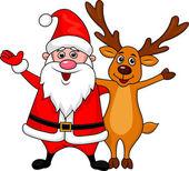 Santa and deer cartoon waving hand — Stock Vector