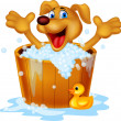 Vector de stock : Dog bathing time