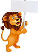 Lion cartoon with blank sign — Vetorial Stock