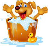 Dog bathing time — Stockvector