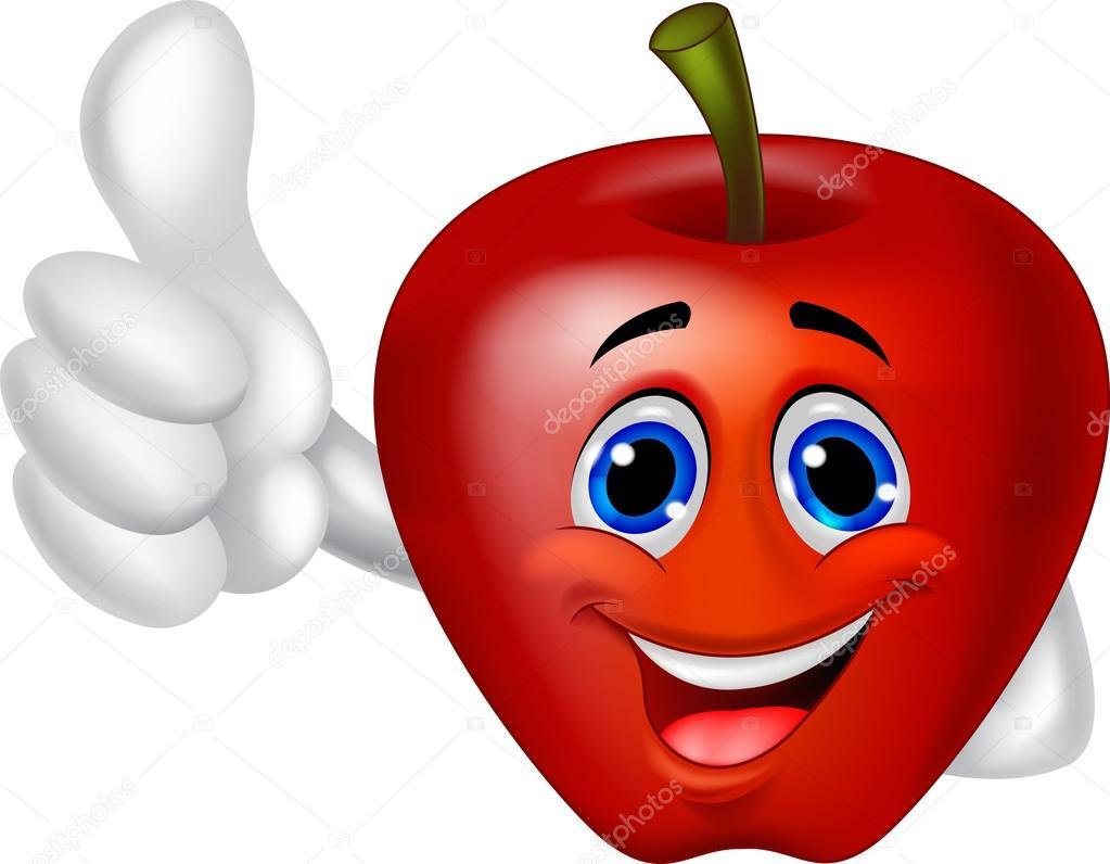 Kırmızı elma çizgi film karakteri — stok vektör tigatelu