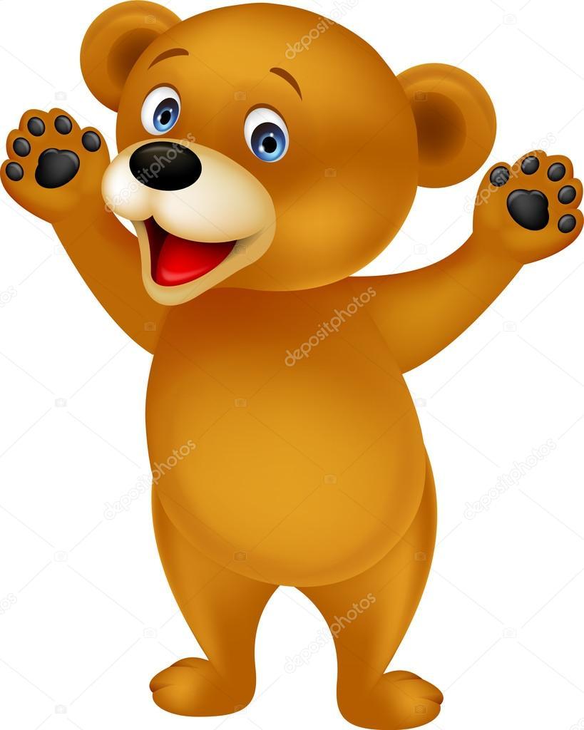 Dibujos animados feliz oso pardo — vector de stock