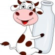 Smiling cow with milk — Stock Vector