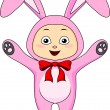 Cute baby in rabbit costume — Stock Vector