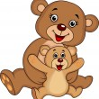 Mother and baby bear cartoon — Vector de stock