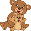 Mother and baby bear cartoon — Stock vektor