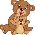 母親と赤ちゃんのクマの漫画 — ストックベクタ