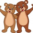 Royalty-Free Stock Vector Image: Bear couple waving