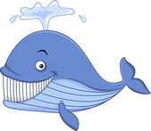 Happy blue whale cartoon — Stock Vector