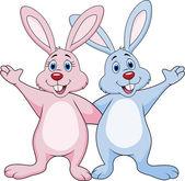 Rabbit couple waving hands — Stock Vector