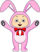 Cute baby in rabbit costume — Vector de stock