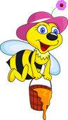 Pszczoła śmieszne kreskówki — Wektor stockowy