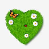 Love icon from grass background — Stock Vector