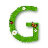 Grass Letter G on white background — Stock Vector