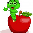 Worm and apple cartoon — Stock Vector