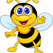 Cute bee cartoon waving — Stock Vector #23052132