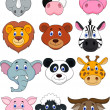 Cartoon animal head icon - Vettoriali Stock 