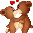 Bear couple cartoon kissing — Stockvector #23053872