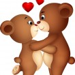 Bear couple cartoon kissing — Vettoriale Stock #23053872