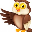 Owl cartoon waving - Image vectorielle